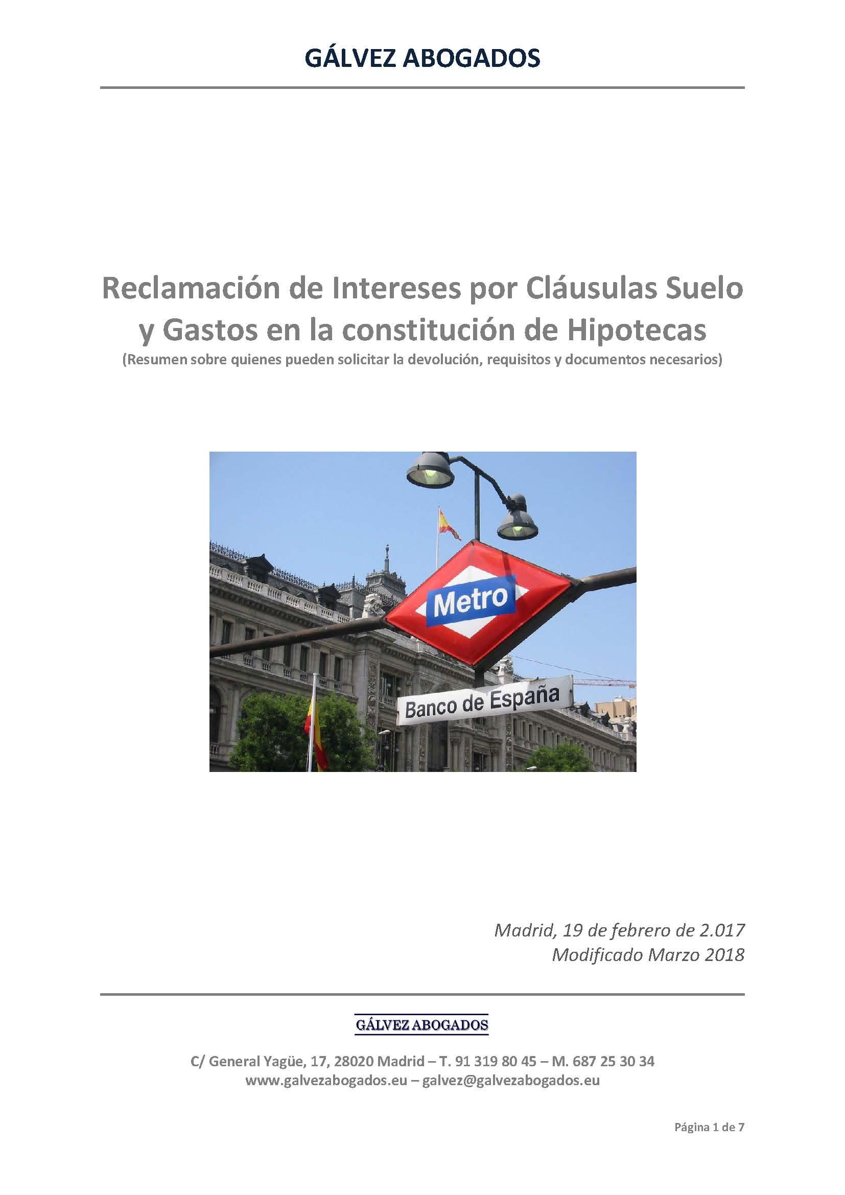 Clausulas suelo gastos hipoteca g lvez abogados t for Reclamacion clausula suelo hipoteca